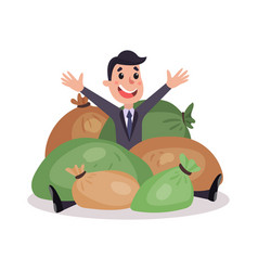 happy millionaire character sitting on the pile of vector image