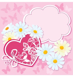 Heart and daisies on a pink background with butter vector image