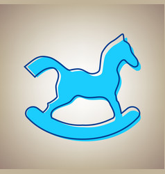 Horse toy sign sky blue icon with vector