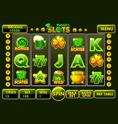 interface slot machine style stpatrick s vector image
