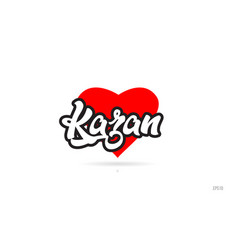 Kazan city design typography with red heart icon vector