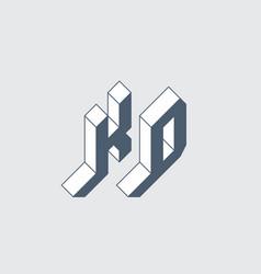 Kd - logo or 2-letter code isometric 3d font vector