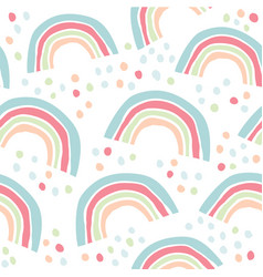 kids hand drawn pattern with colorful rainbows vector image