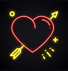 light heart with arrow neon sign bright cupid vector image