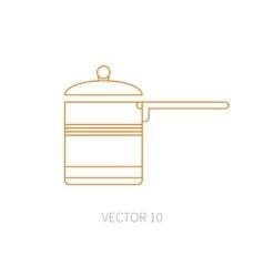 Line flat kitchenware icons - pan pot vector image