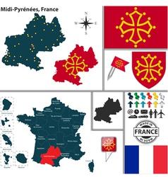 Map of Midi Pyrenees vector