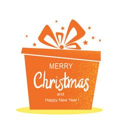merry christmas card with present gift and vector image