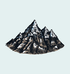 mountain peaks vintage rock old highlands range vector image