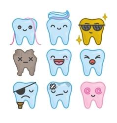 Nine funny cartoon kawaii teeth isolated vector image vector image