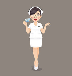 Nurse holding id card vector
