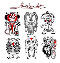 original modern cute ornate doodle fantasy monster vector image