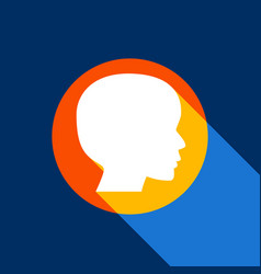 People head sign white icon on tangelo vector