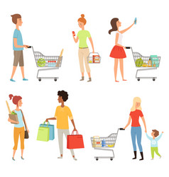 peoples shopping various vector image