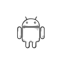 Phone robot hand drawn outline doodle icon vector