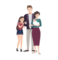portrait of happy loving family father mother vector image