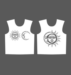 Print for t-shirt with ancient astronomical vector