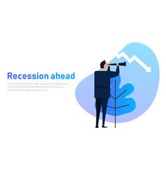 Recession ahead leader looking vision vector