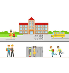 school building and cheerful school students with vector image