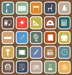 School flat icons on brown background vector image
