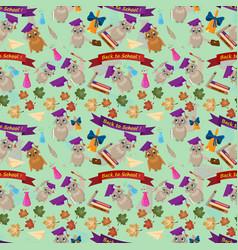 Seamless pattern 1 flat on school theme bird owl vector