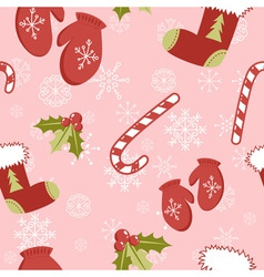 seamless pattern with christmas mittens vector image