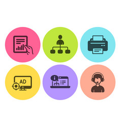 Seo adblock document and management icons set vector