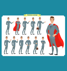 set businessmen presenting in various action vector image