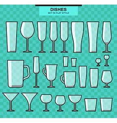 Set of different isolated glasses and stroke vector image
