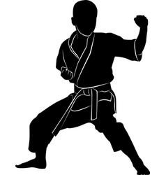 Silhouette a boy in a rack martial arts martia vector