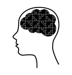 silhouette human brain puzzle idea isolated vector image