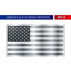 Silver American flag in a metallic frame vector