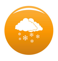 snow cloud holiday icon orange vector image