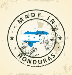 Stamp with map flag of Honduras vector image