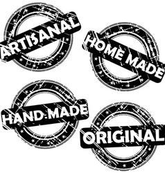 Stamps with words Artisanal Hand made Home made vector