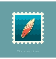 Surfboard on the water stamp Summer Vacation vector