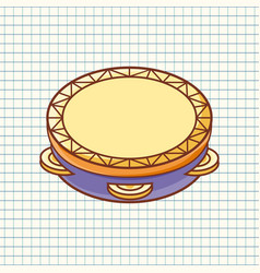 Tambourine musical instrument for kid vector