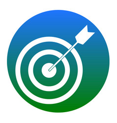 target with dart white icon in bluish vector image