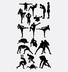 Thai boxer and wrestling silhouette vector