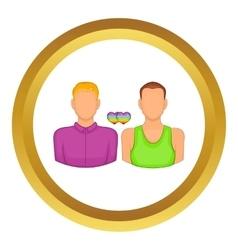 Two men gay icon vector