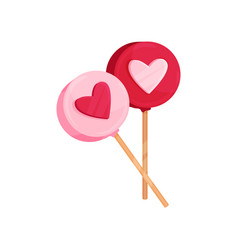 two round lollipops with heart ornament candies vector image