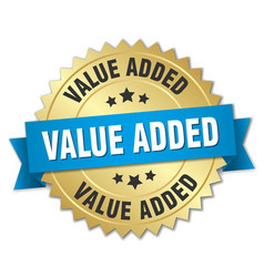 value added 3d gold badge with blue ribbon vector image