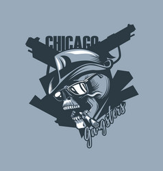 vintage skull in the style of 30 years chicago vector image