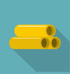 Yellow pipes icon flat style vector