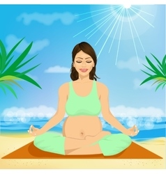 young pregnant woman sitting in yoga pose vector image