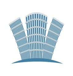 Blue buildings line sticker design vector image vector image