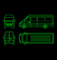 linear truck pattern on a dark background view vector image