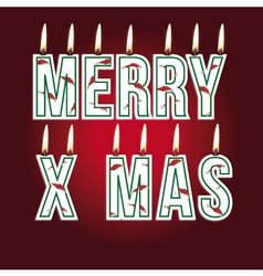 merry xmas candles vector image