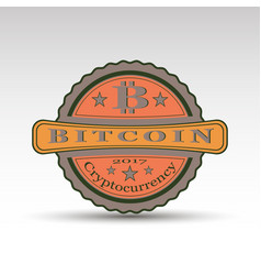 Retro badge with bit coin symbol vector