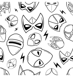 seamless pattern of super hero masks in linear vector image vector image
