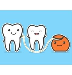 Teeth and dental floss vector image vector image